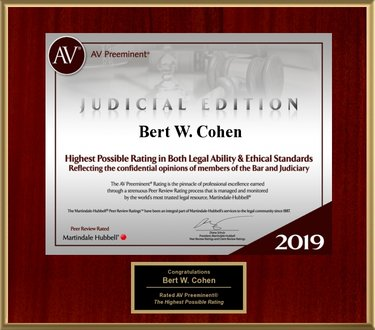 Bert W. Cohen Attorney Martindale Hubbell Plaque AV Rating